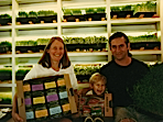 gil, lori, and sam with packaged sprouts