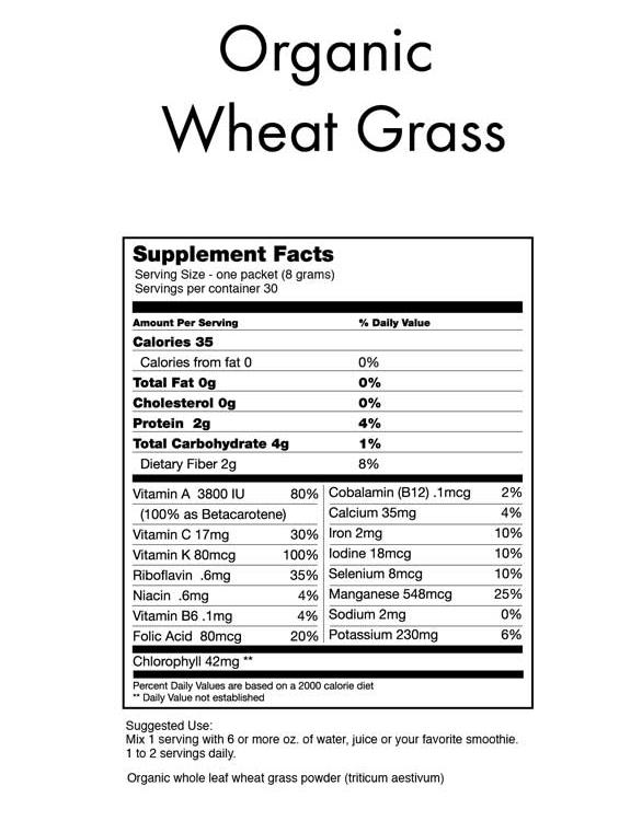 Organic Wheat Grass Powder 1 Serving